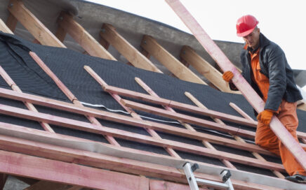 Roofer Installing a Commercial Roof